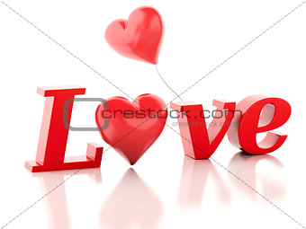 3d red love heart. valentines day concept isolated white