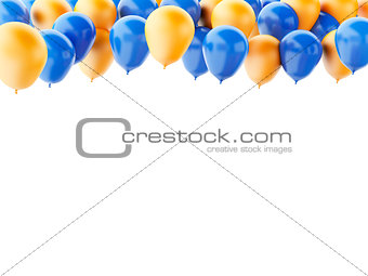Blue and orange balloons isolated on white background