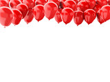 Red balloons isolated on white background