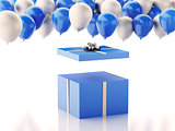 3d Open gift box with blue and white baloons on white background