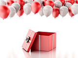 3d Open gift box with red and white baloons on white background