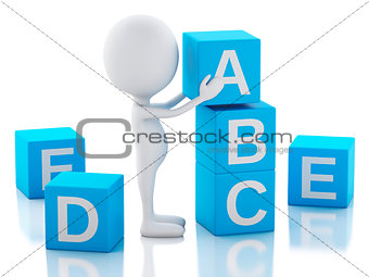 3d white people with ABC cubes on white background.