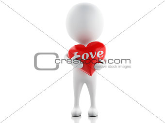 3d white people with red heart, isolated white background.