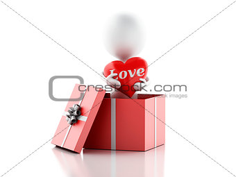 3d white person in love with red heart, isolated white backgroun