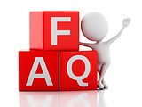 3d white person standing next to FAQ on white background