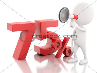 3d white people with percent sign. discount concept on white bac