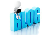 3d man with laptop and blog sign. News concept on white backgrou