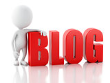 3d man with blog sign. News concept on white background