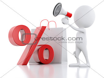 3d white man sale announcement with megaphone,  shopping bag and