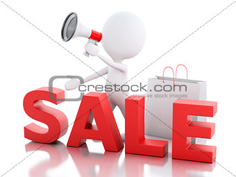 3d white people sale announcement with megaphone and shopping ba