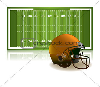 American Football Helmet and Field Illustration