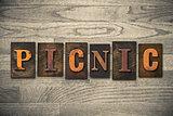 Picnic Concept Wooden Letterpress Type