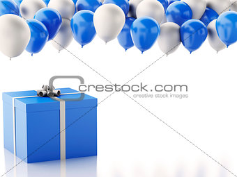 3d gift box with blue and white baloons on white background