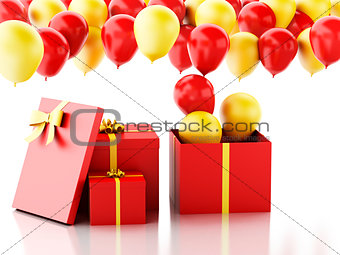 3d gift box with red and yellow baloons on white background