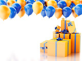3d gift box with baloons on white background