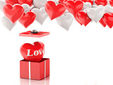 3d red heart in a gift box and Heart balloons. Valentines Day co