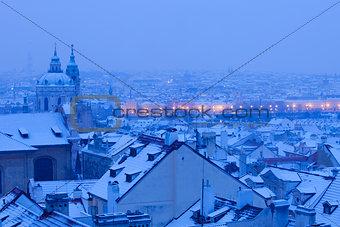 Prague - St. Nicolas church and rooftops of Mala Strana
