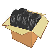 New car tires in the box