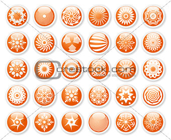 Abstract symbols, orange stickers