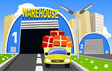 Warehouse and delivery truck