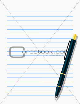 Blank workbook page with pen