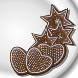 Gingerbread Hearts and Stars on a plate