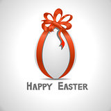 Vector paper card with white ornate easter egg