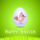Vector green paper card with white ornate easter egg