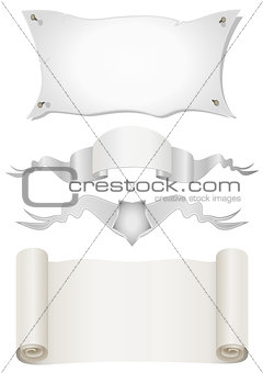 Four Old scroll paper on a white background