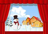 Christmas puppet theater.Village of snowman