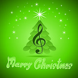 Christmas greeting Card with treble clef