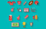 Flat icons vector collection for american football