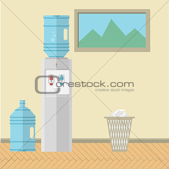 Flat vector illustration of office interior
