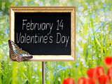 Chalkboard with text February 14 Valentines Day
