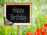 Chalkboard with text Happy Birthday