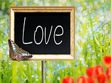 Chalkboard with text Love