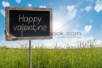 Chalkboard with text Happy valentine
