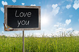 Chalkboard with text Love you