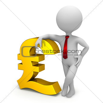 Businessman and pound currency symbol