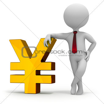 Businessman and yen currency symbol