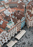 Houses with red roofs in Prague Old Town Square in the Czech Rep
