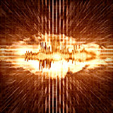 background with explosion and sound waves