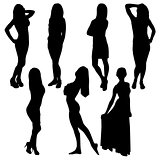 set of different female silhouette