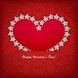 Heart label from paper Valentines day card vector background eps 10