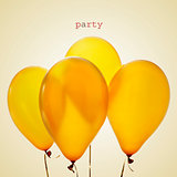 inflated golden balloons and word party, with a retro effect