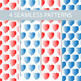 Set of 4 seamless patterns for universal background. Valentine's day. Vector illustration for web design