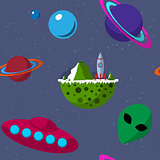 Seamless pattern with planets, UFO, alien, flying saucer