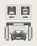 Car wash. Set of vector icons
