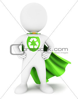3d white people ecological superhero