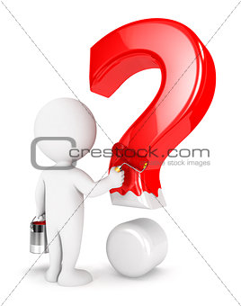 3d white people painting question mark